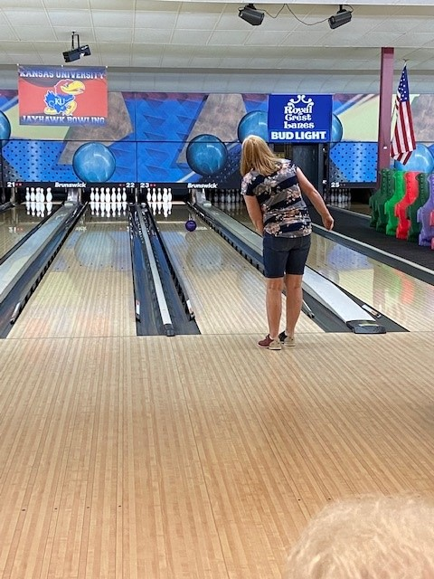 """On some lanes bowlers opted to have staff put in """"bumpers """" to help us avoid those pesky gutter balls. Still Sherry tried body language to get her bell to go left…."""